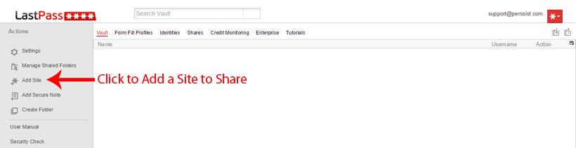 Add Site to LastPass